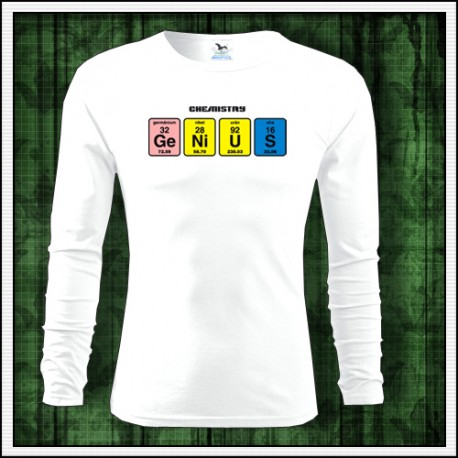 Vtipné pánske dlhorukávové tričko Genius