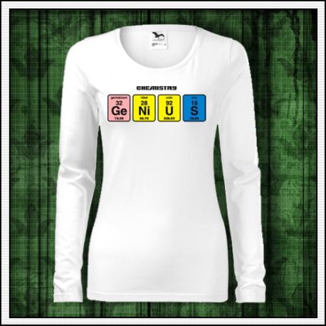Vtipné dámske dlhorukávové tričko Genius