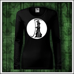 Dámske tričko svietiaca potlač Smrťka a kosa