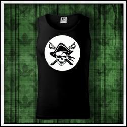 Pánske svietiace tielko Pirát lebka