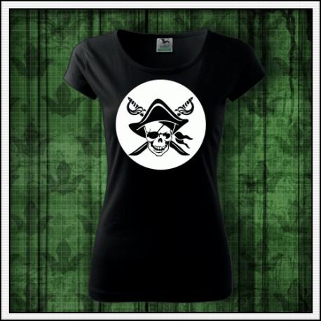 Dámske tričko svietiaca potlač Pirát lebka