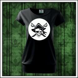 Dámske svietiace tričko s patentom Pirát lebka