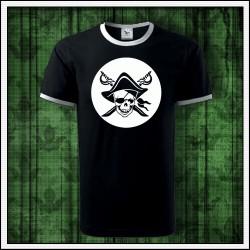 Unisex dvojfarebné svietiace tričko Pirát lebka