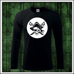 Pánske 180 g. dlhorukávové svietiace tričko Pirát lebka