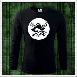 Pánske 160g. dlhorukávové svietiace tričko Pirát lebka