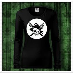 Dámske dlhorukávové svietiace tričko Pirát lebka