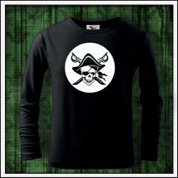 Detské 160g. dlhorukávové svietiace tričko Pirát lebka