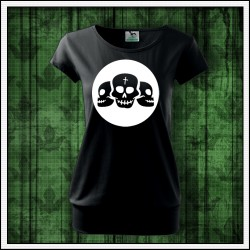 Dámske svietiace tričko s patentom Lebky