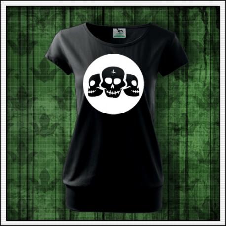 Dámske fosforové tričko s patentom Lebky