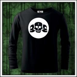 Detské 160g. dlhorukávové svietiace tričko Lebky