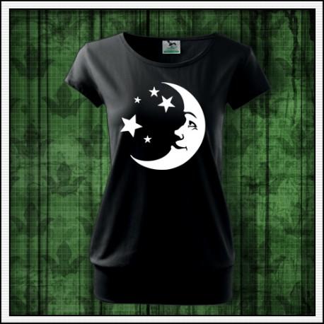 Dámske tričko so svietiacou potlačou Mesiac a hviezdy