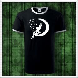 Unisex dvojfarebné svietiace tričko Víla na mesiaci