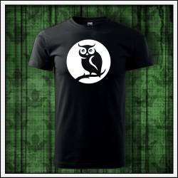 Unisex svietiace tričko, originálny darček potlač Sova