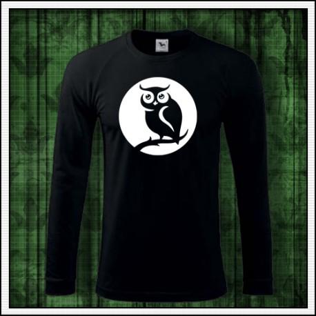 Pánske dlhorukávové svietiace tričko so sovou