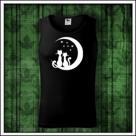 Panske svietiace tielko Mačky sedia na mesiaci