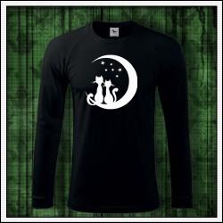 Pánske 180 g. dlhorukávové svietiace tričko Mačky