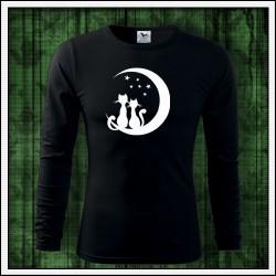 Pánske 160g. dlhorukávové svietiace tričko Mačky