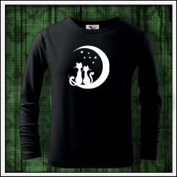 Detské 160g. dlhorukávové svietiace tričko Mačky