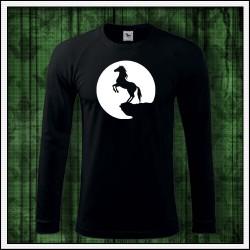 Pánske 180 g. dlhorukávové svietiace tričko Kôň