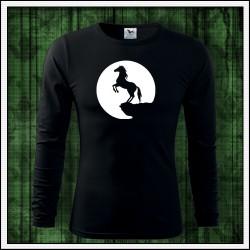 Pánske 160g. dlhorukávové svietiace tričko Kôň
