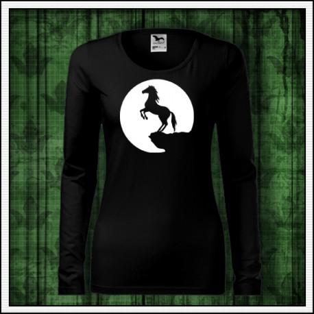 Dámske svietiace tričko s potlačou koňa