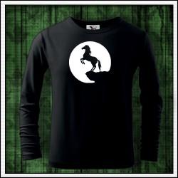 Detské 160g. dlhorukávové svietiace tričko Kôň