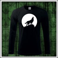 Pánske 180 g. dlhorukávové svietiace tričko Vlk