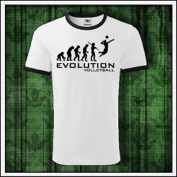 Vtipné unisex dvojfarebné tričká Evolution Volleyball