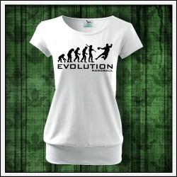 Vtipné dámske tričko s patentom Evolucia hadzana