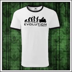 Vtipné unisex dvojfarebné tričká Evolution Motorbike