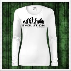 Vtipné dámske dlhorukávové tričká Evolution Motorbike