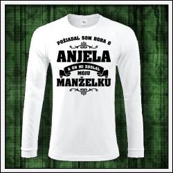 Pánske 180 g. dlhorukávové tričká Anjel - Manželka