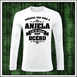 Pánske 180 g. dlhorukávové tričká Anjel - Otec - Dcéra