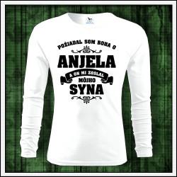 Pánske dlhorukávové tričko Požiadal so Boha o Anjela a on mi zoslal mojho syna