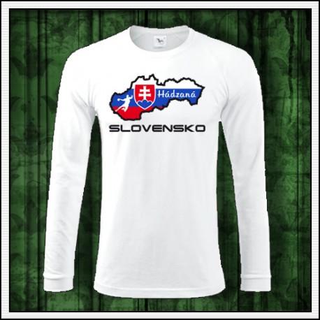 Pánske tričko s dlhým rukávom Slovensko mapa handball