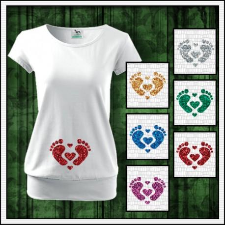 Vtipné dámske tehotenské tričko s potlačou Nožičky 3 srdiečka