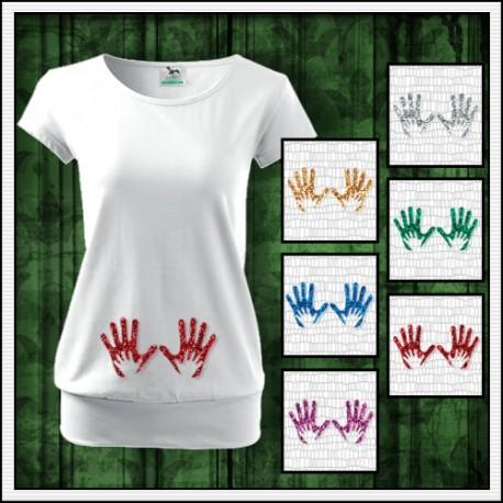 14fe617bf678 Vtipné dámske tehotenské tričko Nožičky 2 srdiečka trblietavá potlač