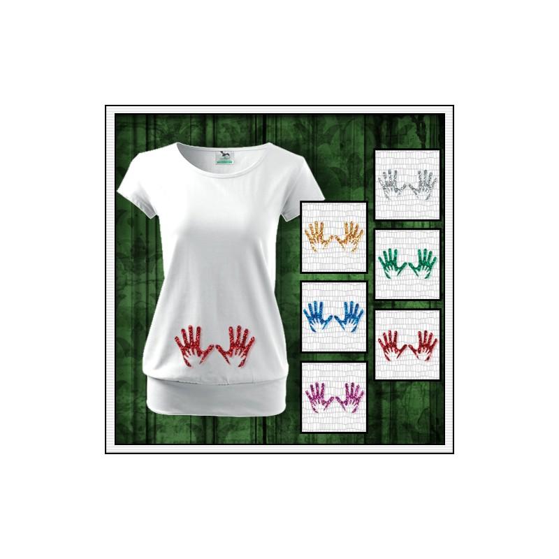57150cf532fe Vtipné dámske tehotenské tričko Nožičky 2 srdiečka trblietavá potlač