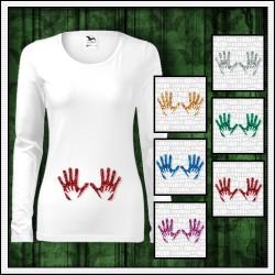 Vtipné dámske tehotenské dlhorukávové tričká Ruky