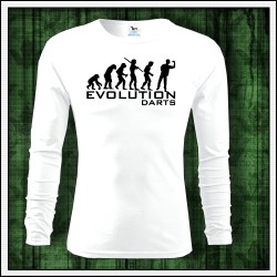 Vtipné pánske tričko Evolution Darts, darček pre šípkara