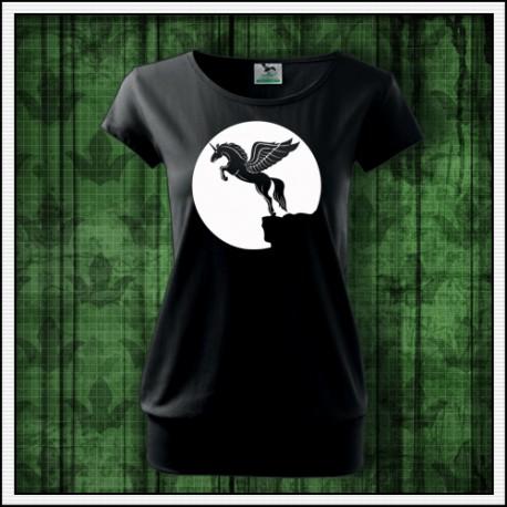 Dámske svietiace tričko s patentom Lietajúci jednorožec