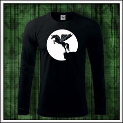 Pánske 180 g. dlhorukávové svietiace tričko Lietajúci jednorožec
