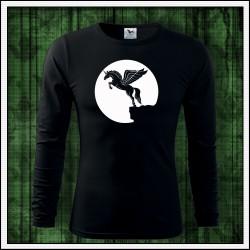 Pánske 160g. dlhorukávové svietiace tričko Lietajúci jednorožec
