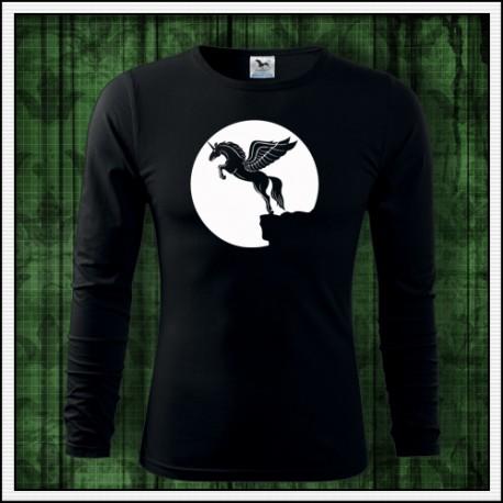 Pánske svietiace tričko s dlhým rukávom Lietajúci jednorožec