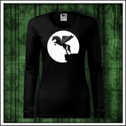 Dámske dlhorukávové svietiace tričko Lietajúci jednorožec