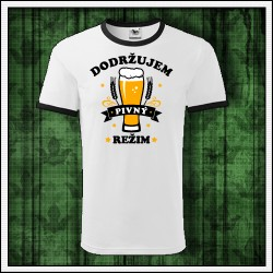 Vtipné unisex dvojfarebné tričko Dodržujem pivný režim, darček pre pivára