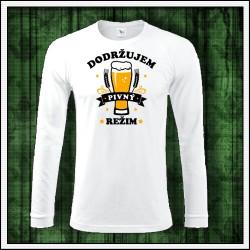 Vtipné pánske 180 g. dlhorukávové tričká Dodržujem pivný režim