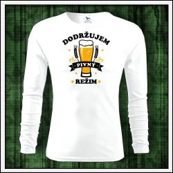 Vtipné pánske 160g. dlhorukávové tričká Dodržujem pivný režim