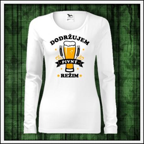 Vtipný darček pre pivárku tričko Dodržujem pivný režim