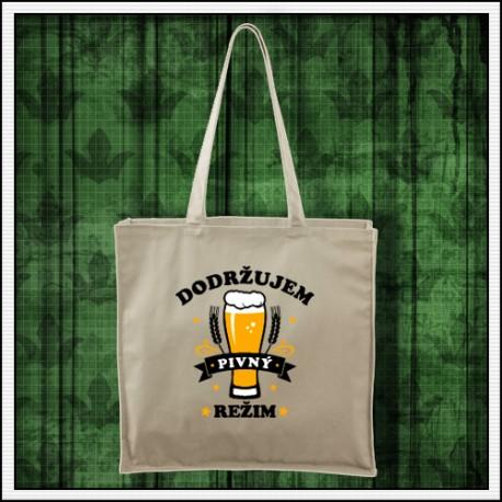 Vtipná taška Dodržujem pivný režim, vtipný darček pre pivára